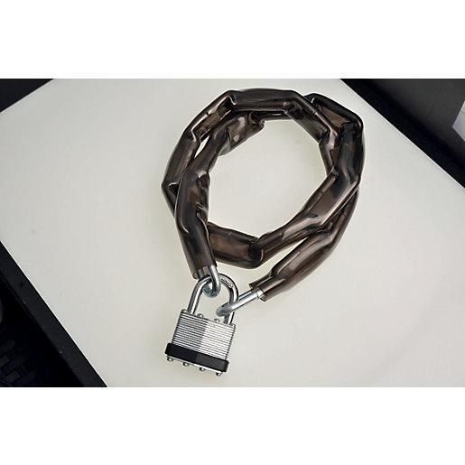 Wickes Laminated Padlock & Chain PVC Coated -