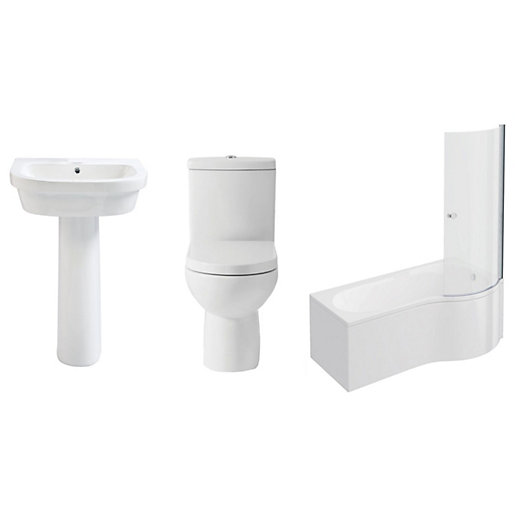Phoenix Bathroom Suite - Toilet, Basin, Right-hand Shower