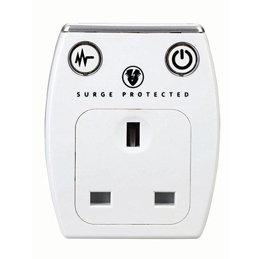 Masterplug Single Socket Plug Adaptor with Surge Protection