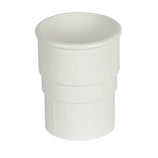FloPlast 68mm Round Line Downpipe Pipe Socket -White