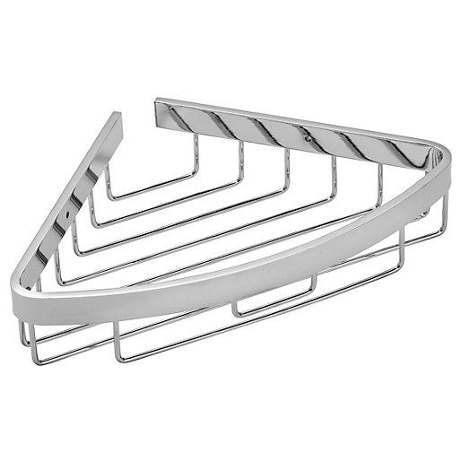 Croydex Aluminium Corner Bathroom Storage Basket - Chrome
