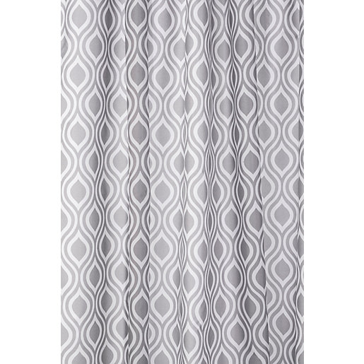 Croydex Medallion Bathroom Shower Curtain - Grey/White