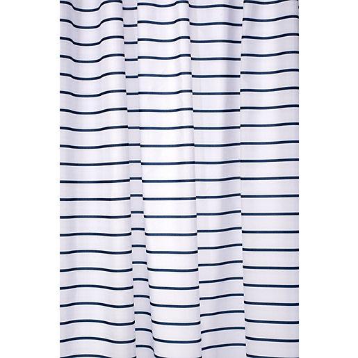 Croydex Shower Curtain - Navy Stripe