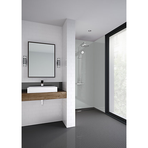 Mermaid Acrylic Urban Grey Gloss Single Shower Panel