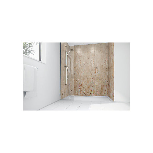 Mermaid Brushed Nickel Laminate Single Shower Panel