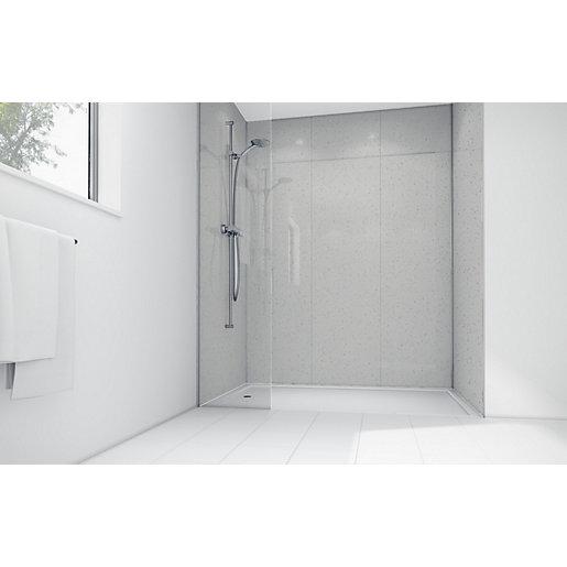 Mermaid White Sparkle Gloss Laminate Single Shower Panel