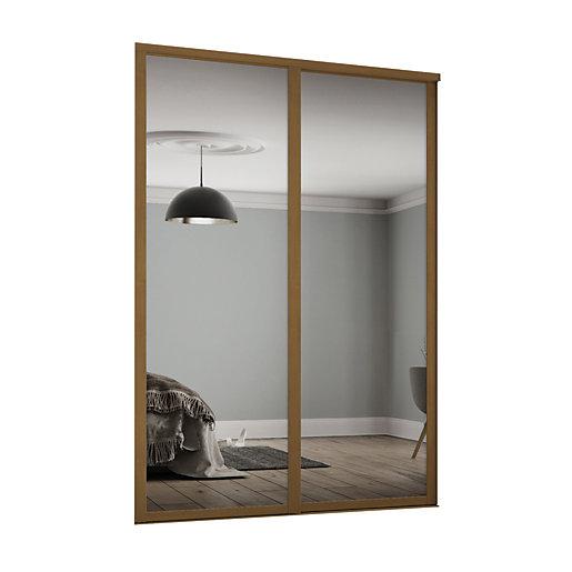 Spacepro Shaker Style 2 Oak Frame Mirror Sliding