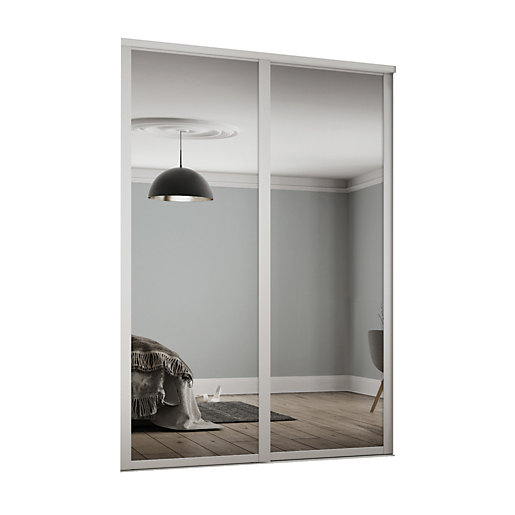 Spacepro Shaker Style 2 White Frame, White Mirror Sliding Closet Door
