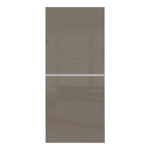 Spacepro Minimalist Sliding Wardrobe Door 2 Panel Silver
