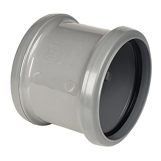 FloPlast 110mm Double Socket Coupling - Grey