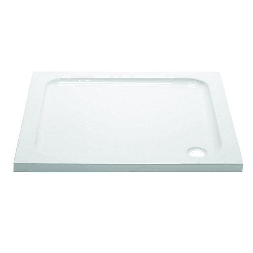 Wickes White Slimline Square Cast Stone Shower Tray