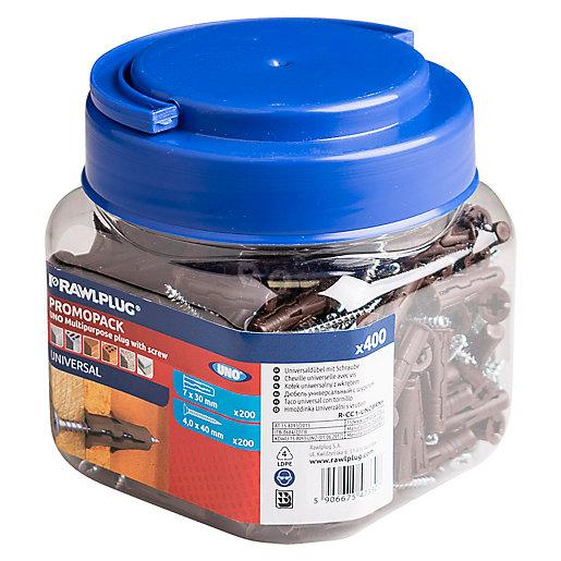 Rawlplug Uno Brown Wall Plug Jar With Screws