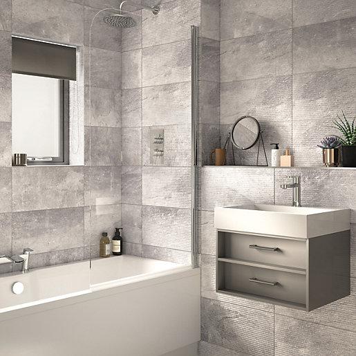 Wickes Manhattan Light Grey Ceramic Wall Tile -