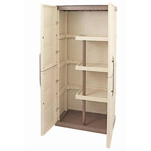 Large Exterior Storage Cabinet with Shelves & Broom