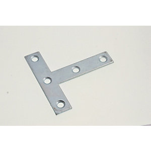 Wickes Zinc Plated Tee Plate 75mm Pack 4