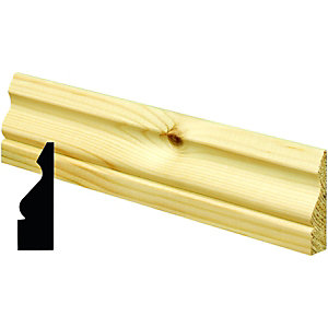 Wickes Ogee Pine Architrave - 19mm x 69mm x 2.1m Pack of 5