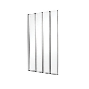 Wickes Silver Effect Frame Four Fold Bath/shower Screen - 1400 X 840 Mm