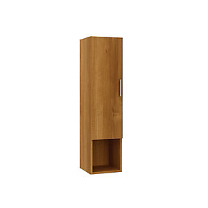 Wickes Talana Walnut Tall Wall- Hung Unit with Three Quarter Door - 300mm