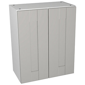 Wickes Vermont Grey On White Compact Floorstanding Vanity Unit - 600 x 735mm
