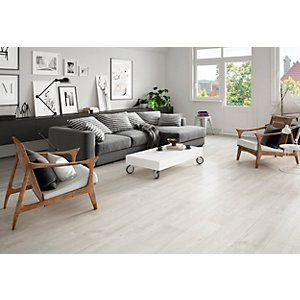 Wickes Maine Light Grey Wood Effect Porcelain Wall & Floor Tile - 225 x 900mm