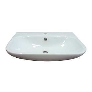Wickes Teramo 1 Tap Hole Semi Recessed Bathroom Basin - 560mm