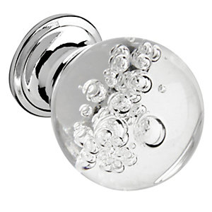 Wickes Bubbled Glass Door Knob - Chrome 30mm Pack of 4