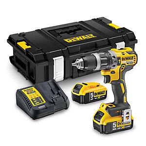 DEWALT DCD796P2 Cordless Combi Drill 18 Volt Xr Brushless Compact Li-Ion 2 X 5.0AH Batteries, Charger And Tstak Kitbox