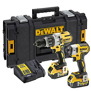 DEWALT DCK276P2-GB 18V XR 5.0Ah Brushless Cordless Combi Drill & Impact Driver Twin Pack