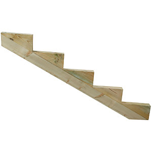 Wickes Decking Stair Stringer 5 Tread - Light Green 250mm x 1.51m
