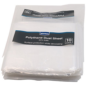 Wickes Polythene Dust Sheets - 3.65 x 3.65m - Pack of 10