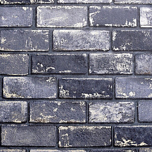 Artistick Metallic Navy Brick Effect Self Adhesive Wallpaper - 6m x 53cm