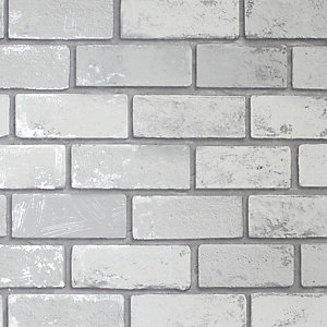 Artistick Metallic Silver Brick Effect Self Adhesive Wallpaper - 6m x 53cm