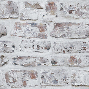 Artistick White Washed Brick Effect Self Adhesive Wallpaper - 6m x 53cm