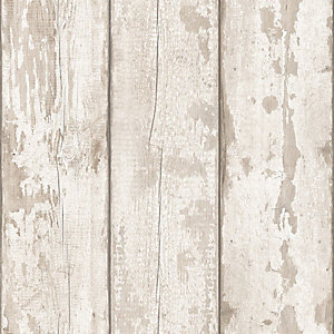 Artistick White Washed Wood Effect Self Adhesive Wallpaper - 6m x 53cm