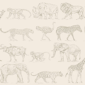 Boutique Safari Cream Beige Wallpaper 10m