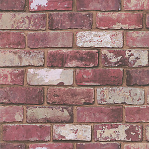 Hemingway Brick Effect Wallpaper Red - 10m