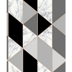 Sublime Marble Geometric Charcoal Wallpaper 10m