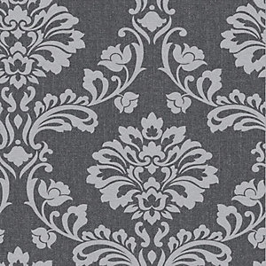 Superfresco Aurora Grey Damask Decorative Wallpaper - 10m