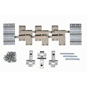 Wickes Toronto Victorian Straight Latch Door Handle Set - Satin Nickel 3 Pairs