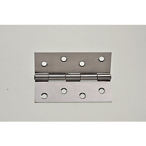 Wickes Butt Hinge - Chrome Steel 102mm Pack of 3