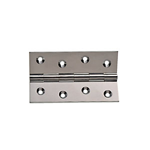 Wickes Butt Hinge - Solid Brass Chrome Plated 100mm Pack of 2