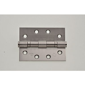 Wickes Grade 13 Ball Bearing Hinge - Stainless Steel 102mm Pack of 2