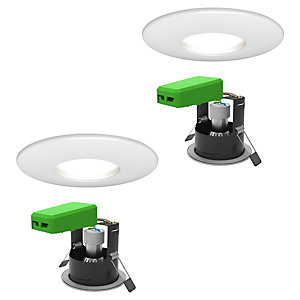 4lite WiZ IP65 GU10 Fire Rated Downlights Matt White WiFi & Bluetooh 2 Pack