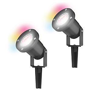 4lite WiZ Smart LED IP65 Spike Light Twin Pack with GU10 Lamps