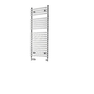 Towelrads Liquid Round Tube Chrome Heated Towel Rail Radiator - 800 x 500mm