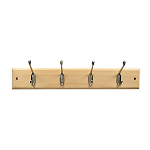 Wickes Light Duty Hook Rail - Pine/Nickel 450mm