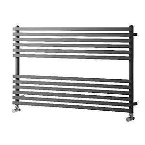 Wickes Invent Square Horizontal Designer Towel Radiator - Anthracite 600 x 1000 mm