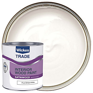 Wickes Trade Quick Dry Satinwood Pure Brilliant White 1L