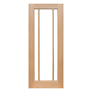 Wickes York Glazed Oak 3 Panel Pre Finished Internal Door - 1981mm X 762mm
