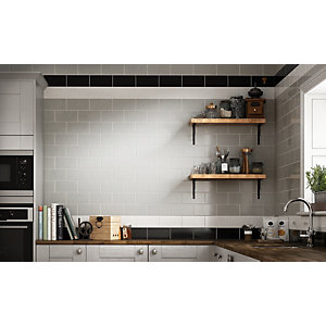 Wickes Cosmopolitan Black Ceramic Wall Tile - 200 x 100mm